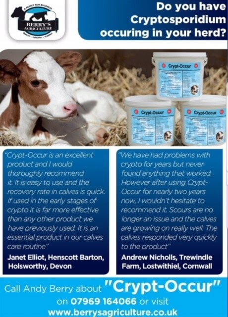 Crypt-Occur is an excellent product and I would thoroughly recommend it. It is easy to use and the recovery rate in calves is quick. If used in the early stages of crypto it is far more effective than any other product we have previously used. It is an essential product in our calves care routine.